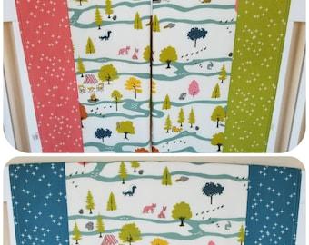 Organic Baby Blanket, Receiving Blanket, Stroller Blanket, Organic, Camp Sur, Camping, Woodland, Foxes, Raccoons, Owls, Flannel