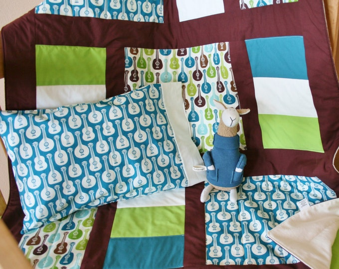 Featured listing image: Organic Baby Quilt, Toddler Quilt, Guitar Quilt, Custom Quilt, Baby Quilt, Modern Quilt, Organic: Groovy Guitars, Baby Boy, Baby Blanket