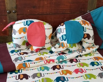 Elephant Baby Blanket, Organic Baby Blanket, Elephants, Baby Shower Gift Set, Neutral, Organic Stuffed Animal, Elephant,  Ready to Ship