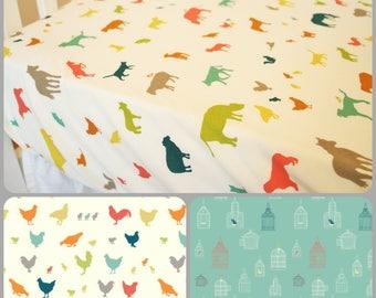 Organic Crib Sheet, Mini Crib, Mini Co-Sleeper, Co-Sleeper, Pack n Play, Farm Animals, Neutral, Organic Toddler Sheet, Organic, Farm Fresh