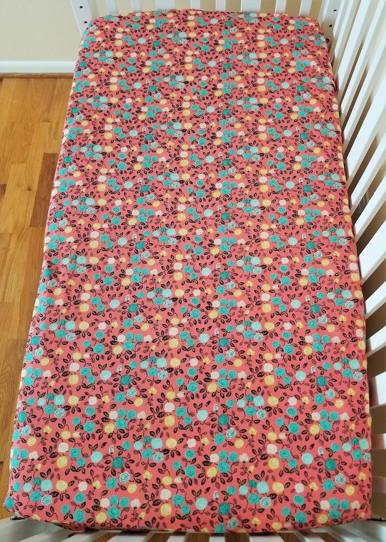 Toddler Bedding Floral Crib Sheet Organic Roses Girl Hidden Garden Cotton Fitted Crib Sheet Floral Toddler Sheet Organic Crib Sheet