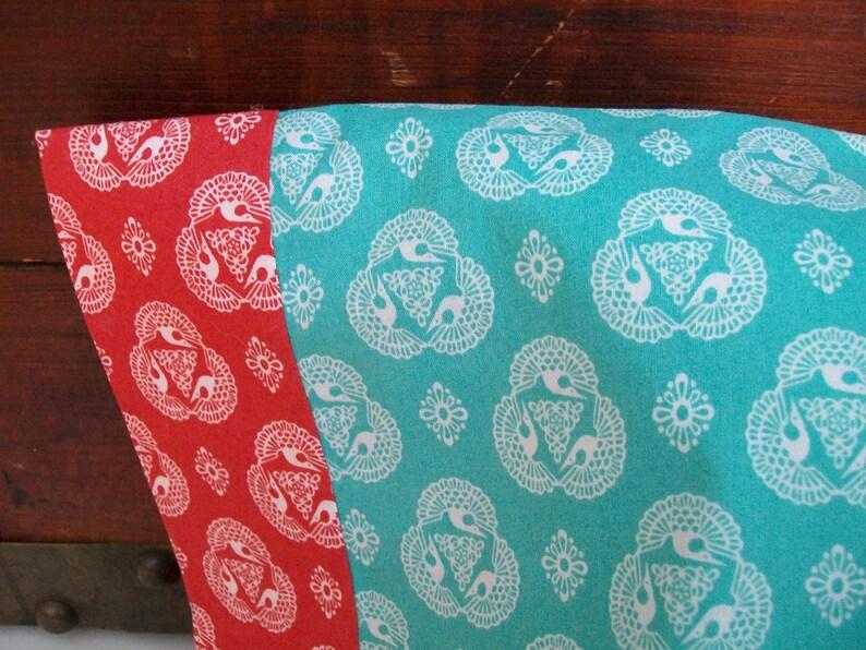 Turquoise Organic Organic Standard Pillowcase Red Modern Americana Organic Pillowcase Pillow Cases Handmade Birds Indigo