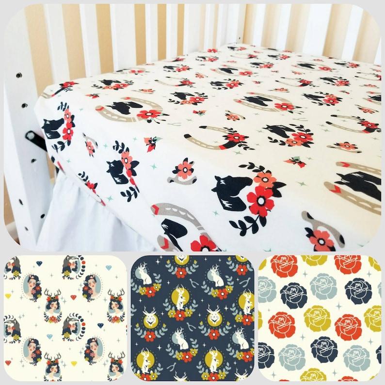 Organic Crib Sheet, Cotton Fitted Crib Sheet, Horses, Floral, Organic  Toddler Sheet, Toddler Bedding Girl, Baby Girl, Tall Tales, Baby Gift