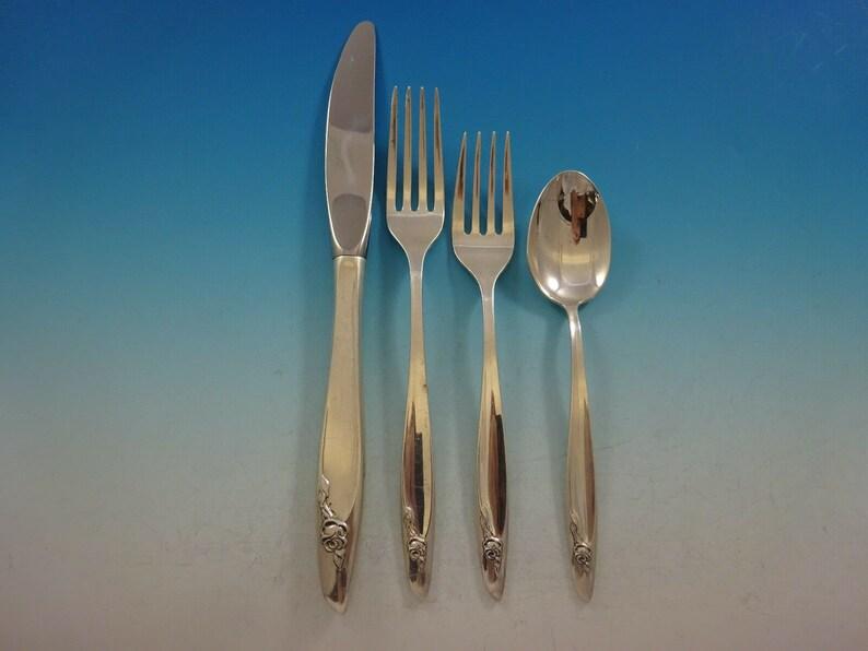Éternelle rose par Alvin Sterling Silver flatware Set pour 12 service 64 pièces