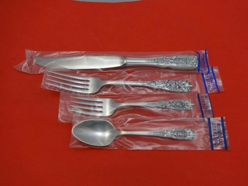 Milburn Rose by Westmorland Sterling Silver Dinner Place Setting s 4pc New