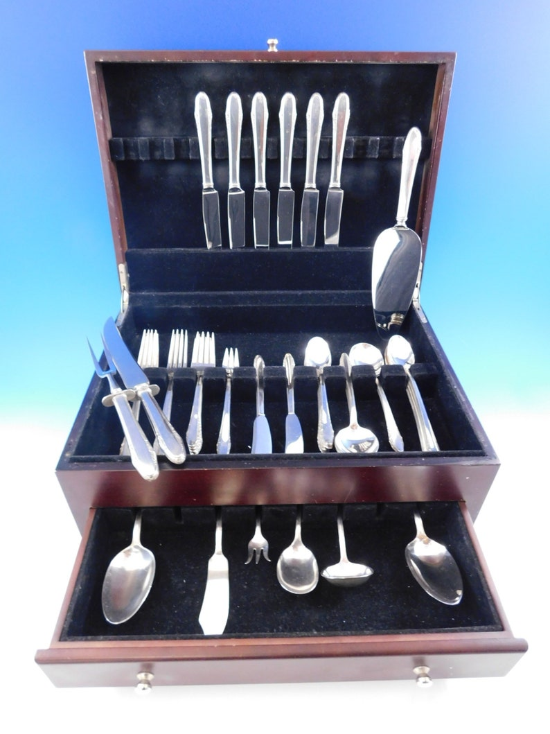Festival par Lunt Sterling Silver Flatware Set for 6 Service 57 Pieces