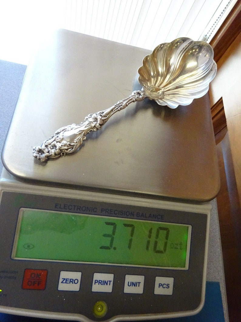 Lily By Whiting Sterling Silver Large Berry Spoon Not Gold Washed 9
