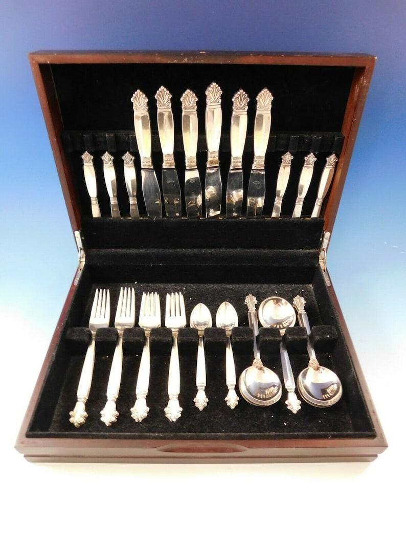 Acanthus De Georg Jensen Danois Sterling Silver Flatware Set Service 36 Pcs