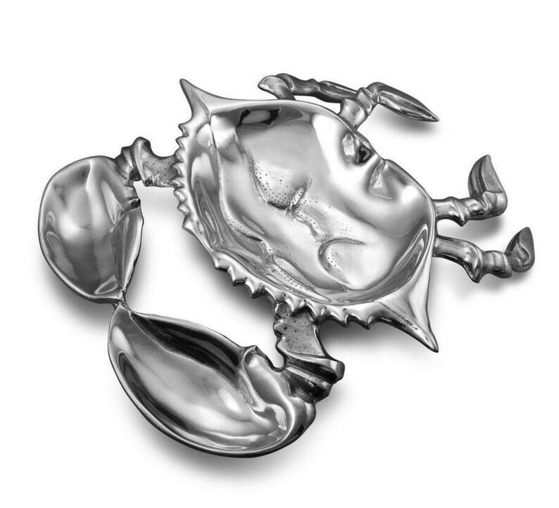 Grande baroque Wallace argent sterling crabe fruits de mer ensemble w/crabe plat et maillet