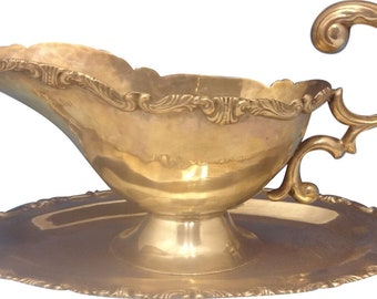 Camusso Sterling Silver Gravy Boat  and  Underplate With Scrolly Border (#0323)