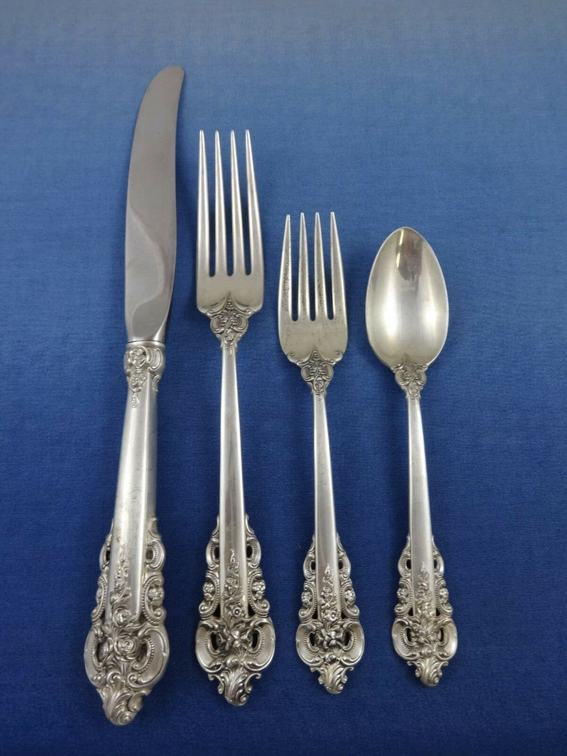 Grande baroque par Wallace Sterling Silver flatware set service dîner 66 pièces