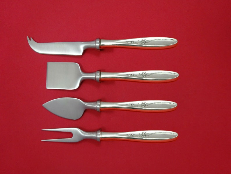 Rose Solitaire by Towle Sterling Silver Cheese Serving Set 4 Piece HHWS  Custom