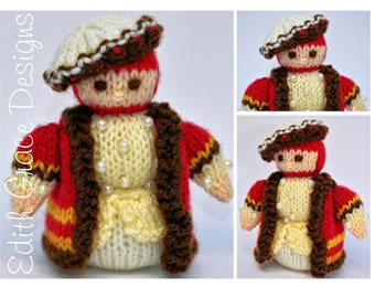 Doll Knitting Pattern - Tudor Doll -  Knit Doll - King Crown - Amigurumi - Toy Knitting Pattern, Doll Making, Sewing, Yarn Doll