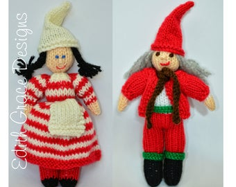 Doll Knitting Pattern - Christmas Doll - Christmas Elf - Knit Doll - Toy Knitting Pattern - Amigurumi Toy - Doll Making - Yarn Doll