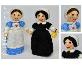 WWI Nurse & Florence Nightingale, Doll Knitting Pattern