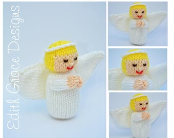 Christmas Doll Knitting Pattern - Christmas Angel - Toy Knitting Pattern - Christmas Ornaments - Knit Doll