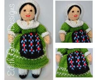 Doll Knitting Pattern - French Doll - Knit Doll - Toy Knitting Pattern - Yarn Doll - Amigurumi Toy - France - Folk Costume - Doll Pattern