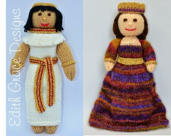 Knit Doll - Egyptian Doll - Byzantium Doll - Doll Knitting Pattern - Rag Doll - Doll Making - Toy Knitting Pattern - Crown - Sewing