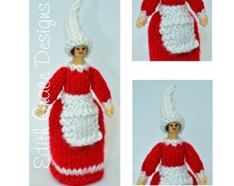 Doll Knitting Pattern - Wooden Peg Doll - Christmas Elf - Christmas Doll - Knit Doll - Toy Knitting Pattern - Peg Doll People - Doll Making