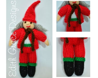 Doll Knitting Pattern - Christmas Elf - Knit Doll - Christmas Doll - Toy Knitting Pattern - Doll Making - Amigurumi Toy - Sweden Doll