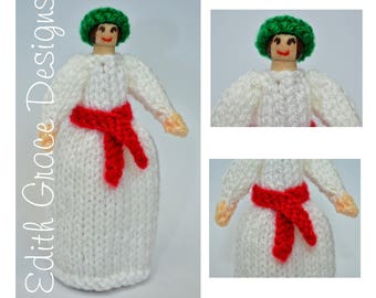 Doll Knitting Pattern - Christmas Doll - Wooden Peg Doll - Knit Doll - Toy Knitting Pattern - Peg Doll People - St Lucia Doll - Doll Making