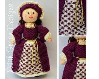 Doll Knitting Pattern - Tudor Doll - Knit Doll - King Henry VIII Doll - Toy Knitting Pattern - Doll Making - Beading - Crown - Yarn Doll