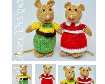 Doll Knitting Pattern - Brown Mouse - Animal Knitting Pattern - Toy Knitting Pattern - Yarn Doll - Amigurumi Toy - Doll Making - Knit Doll