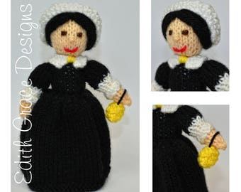 Knit Doll - Florence Nightingale Doll - Doll Knitting Pattern - Toy Knitting Pattern - Doll Making - Sewing - Doll Pattern - Bonnet