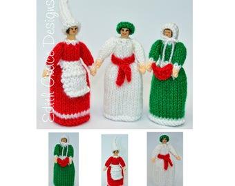 Doll Knitting Pattern - Christmas Dolls - Peg Doll - Knit Doll - Toy Knitting Pattern - Christmas Elf - St Lucia Doll - Carol Singer Doll
