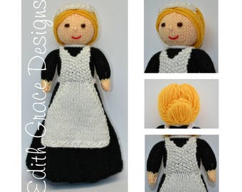 Doll Knitting Pattern - Lady's Maid - Knit Doll - 1920's - Toy Knitting Pattern - Rag Doll - Doll Making - Doll Pattern - Knitted Dress