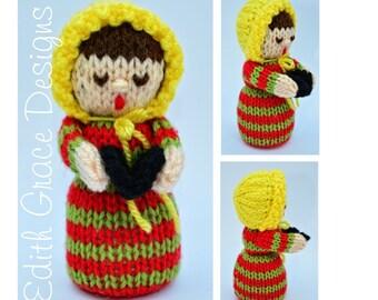 Doll Knitting Pattern - Carol Singer Doll - Christmas Doll - Knit Doll - Toy Knitting Pattern - Christmas Decoration - Doll Making - Yarn