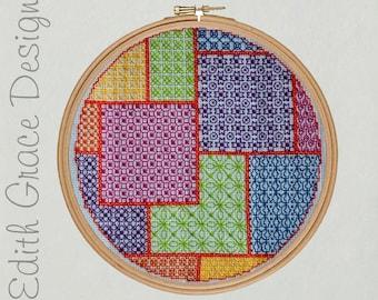 Blackwork Colour Patchwork - Cross Stitch Pattern