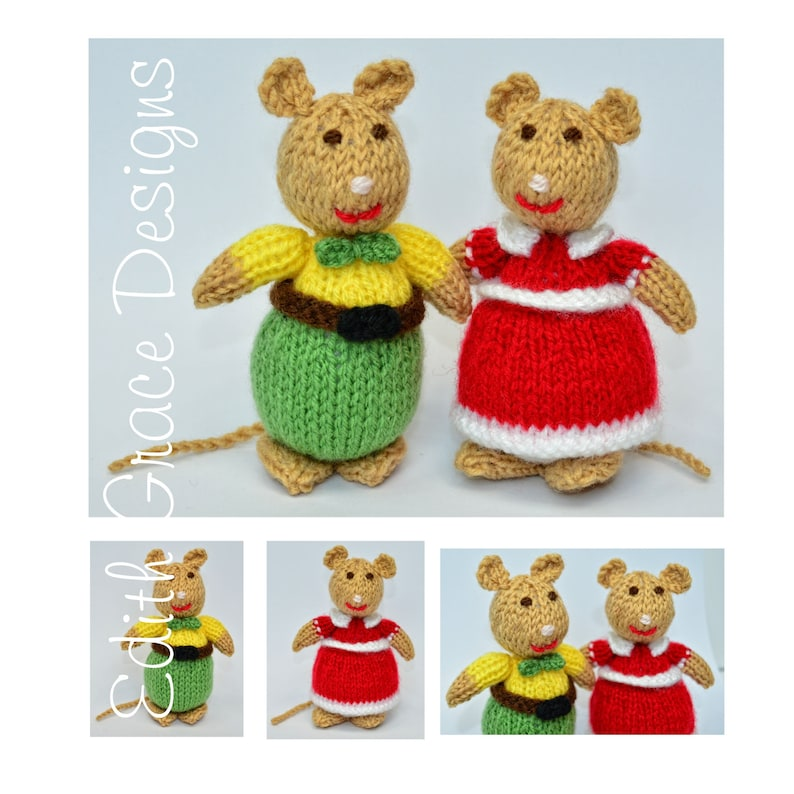 Knitted Mice Dolls Toy Knitting Pattern image 0