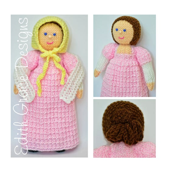 Doll Knitting Pattern Georgian Doll Knit Doll Toy Etsy