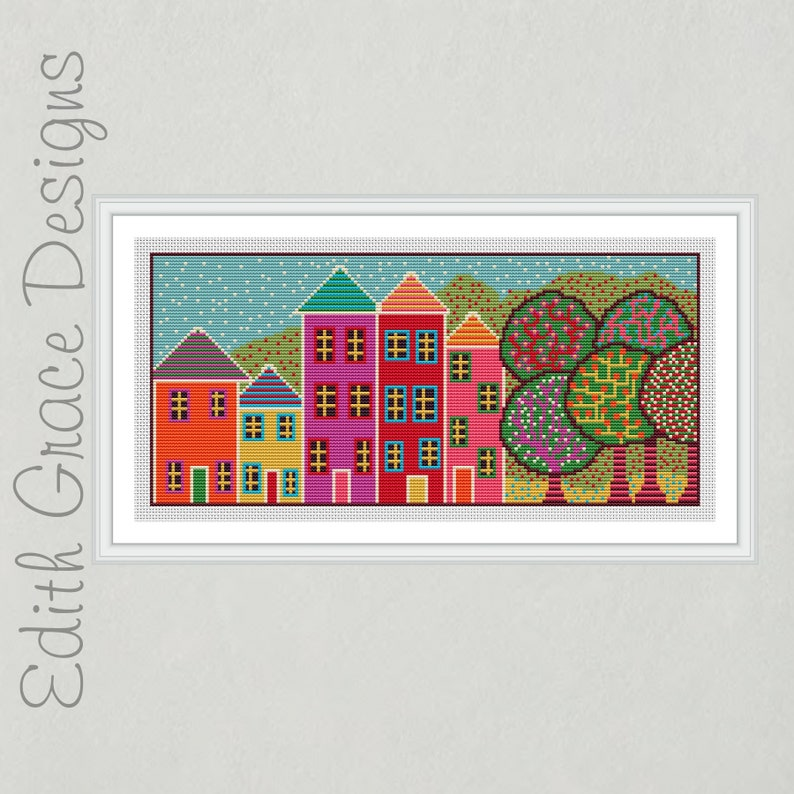 English House Folk Art Cross Stitch Pattern image 0