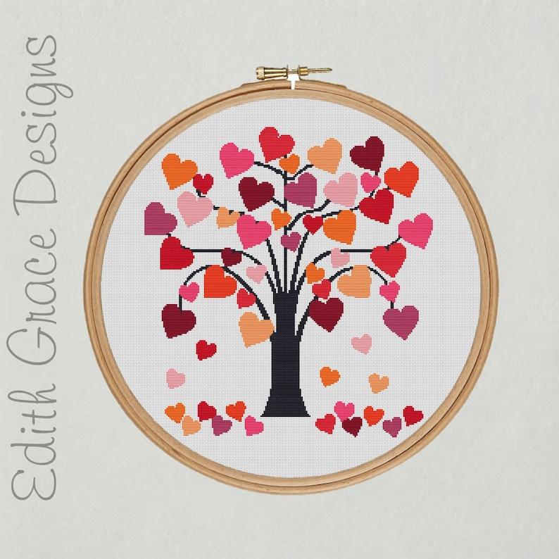 Love Heart Tree Cross Stitch Pattern image 1