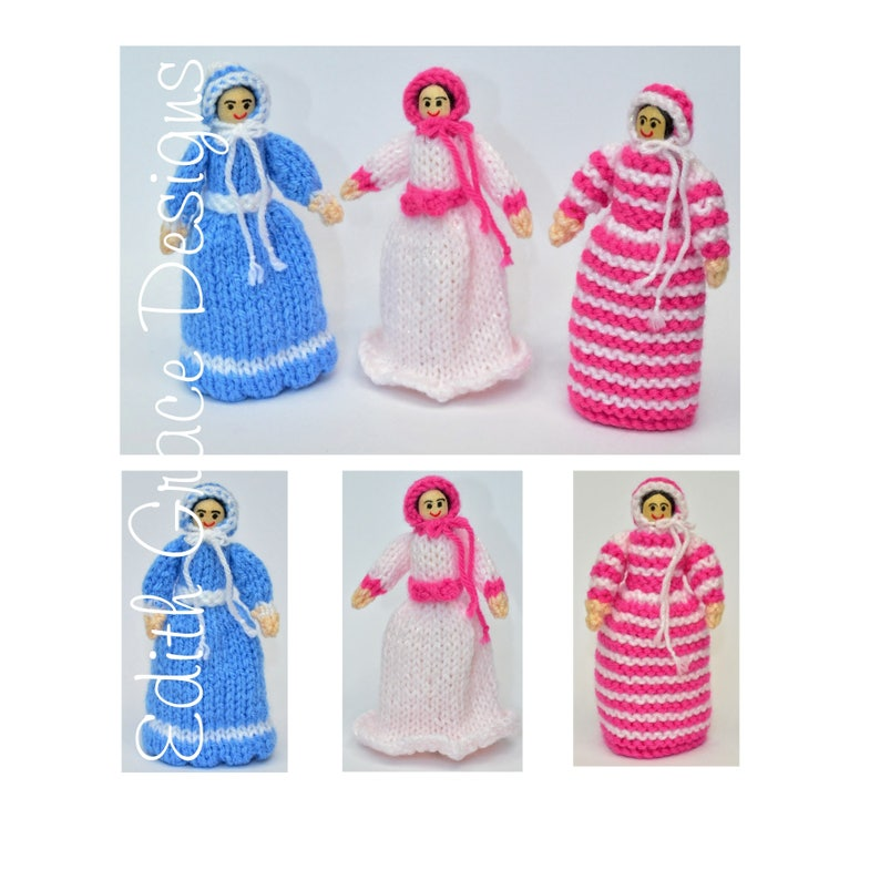 Victorian Peg Dolls Toy Knitting Pattern image 0
