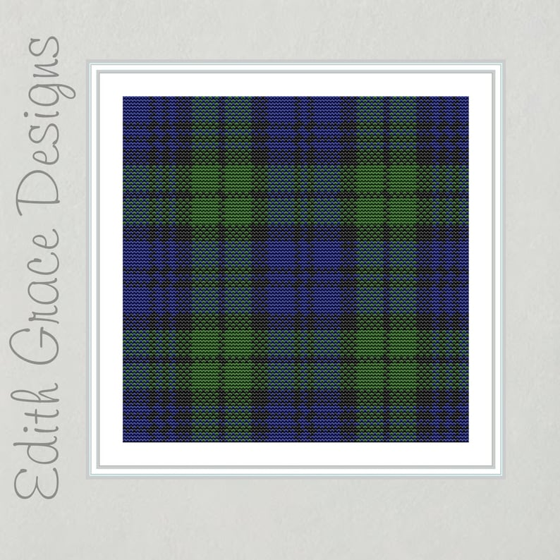 Campbell Tartan Black Watch Tartan Cross Stitch Pattern image 0
