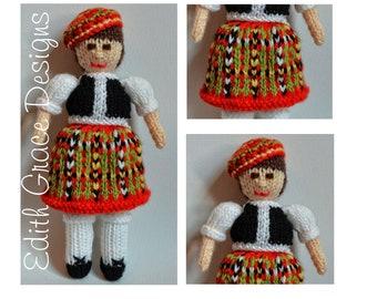 Scottish Knitted Doll, Bruce Tartan Knitting Pattern