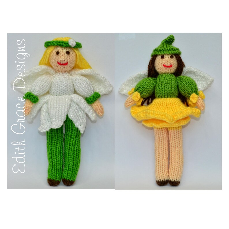 Flower Fairy Knitted Dolls Toy Knitting Pattern image 0