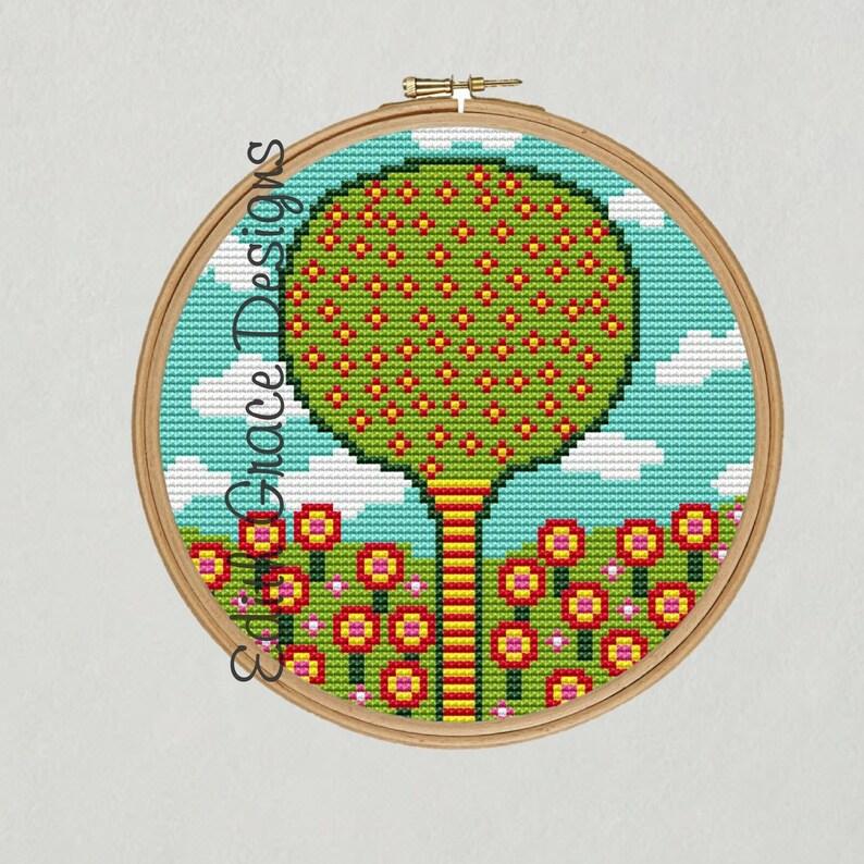 Folk Art Tree & Flowers Cross Stitch Pattern image 1