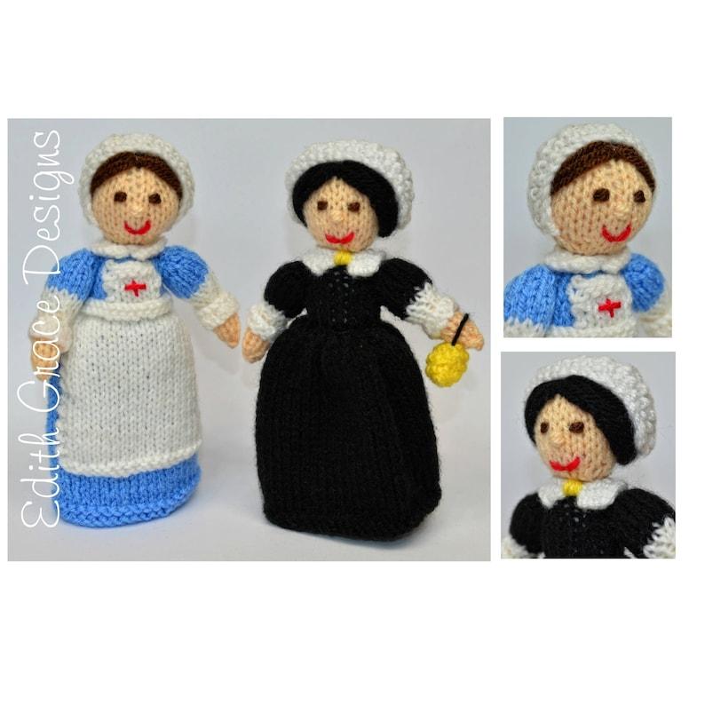 WWI Nurse & Florence Nightingale Doll Knitting Pattern image 0