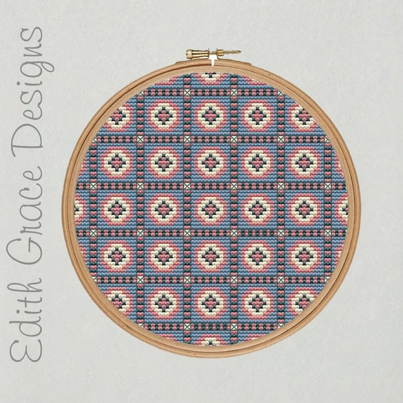 Geometric Folk Art Cross Stitch Pattern image 0