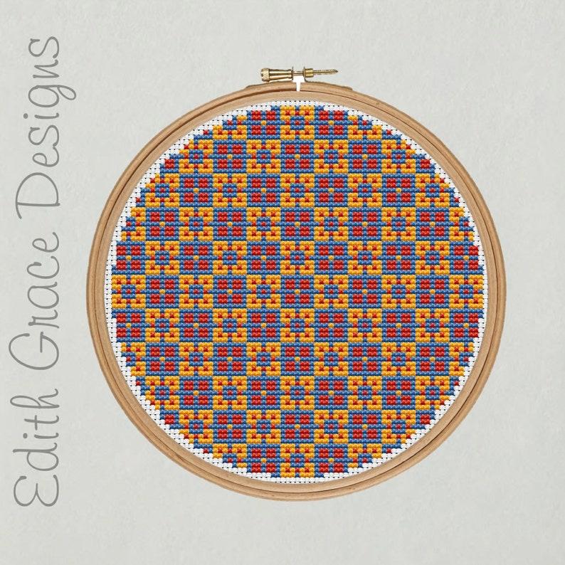 Geometric Folk Art Cross Stitch Pattern image 1