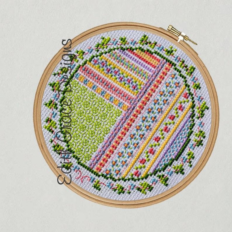 Flowers & Ribbon Cross Stitch Pattern image 1