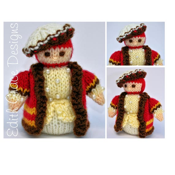 Tudor Gentleman Knitted Doll - Instant Download PDF Doll Knitting Pattern