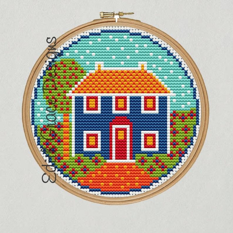 Folk Art House Cross Stitch Pattern image 1
