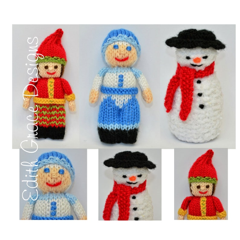 Christmas Knitted Dolls Toy Knitting Pattern image 0