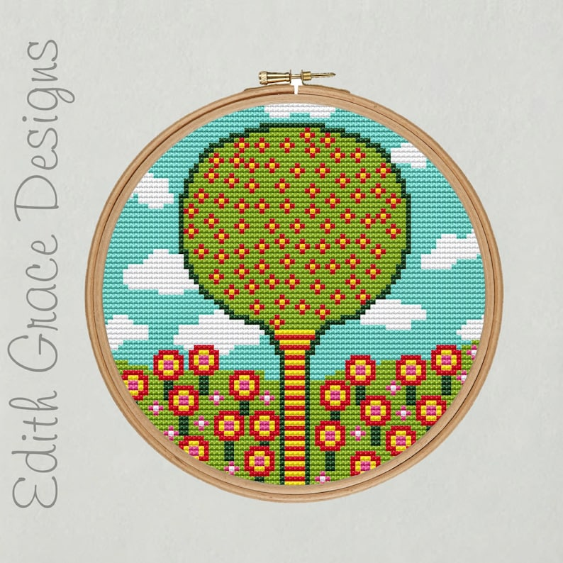 Folk Art Tree & Flowers Cross Stitch Pattern image 0