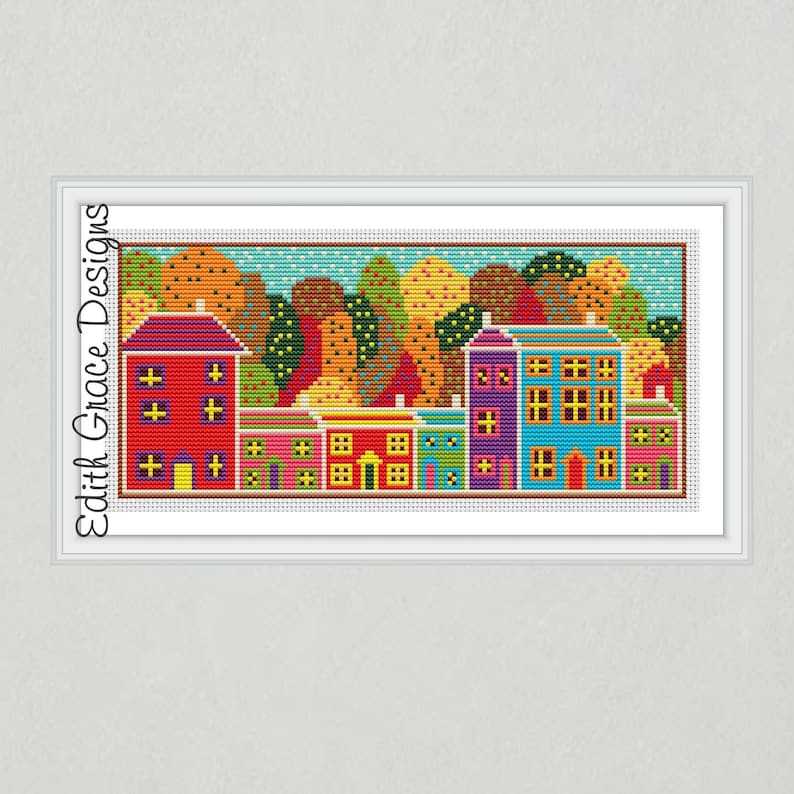 Autumn Folk Art Cross Stitch Pattern image 1